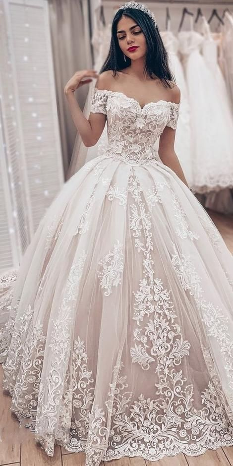 Ball Gown Wedding Dress With Off Shoulder,Fashion Custom Made Bridal Dress YDW0052