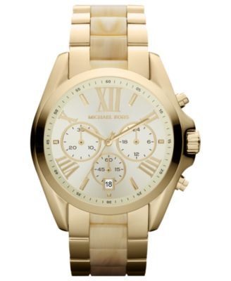 Women's Chronograph Bradshaw Gold-Tone Stainless Steel Bracelet Watch 43mm MK5605